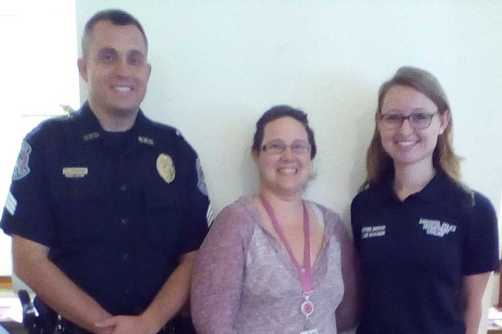 Sgt. Ritchie Schwieterman, Therapist Lila  Reulet from Coastal Behavioral Healthcare, and Sherree Brown.